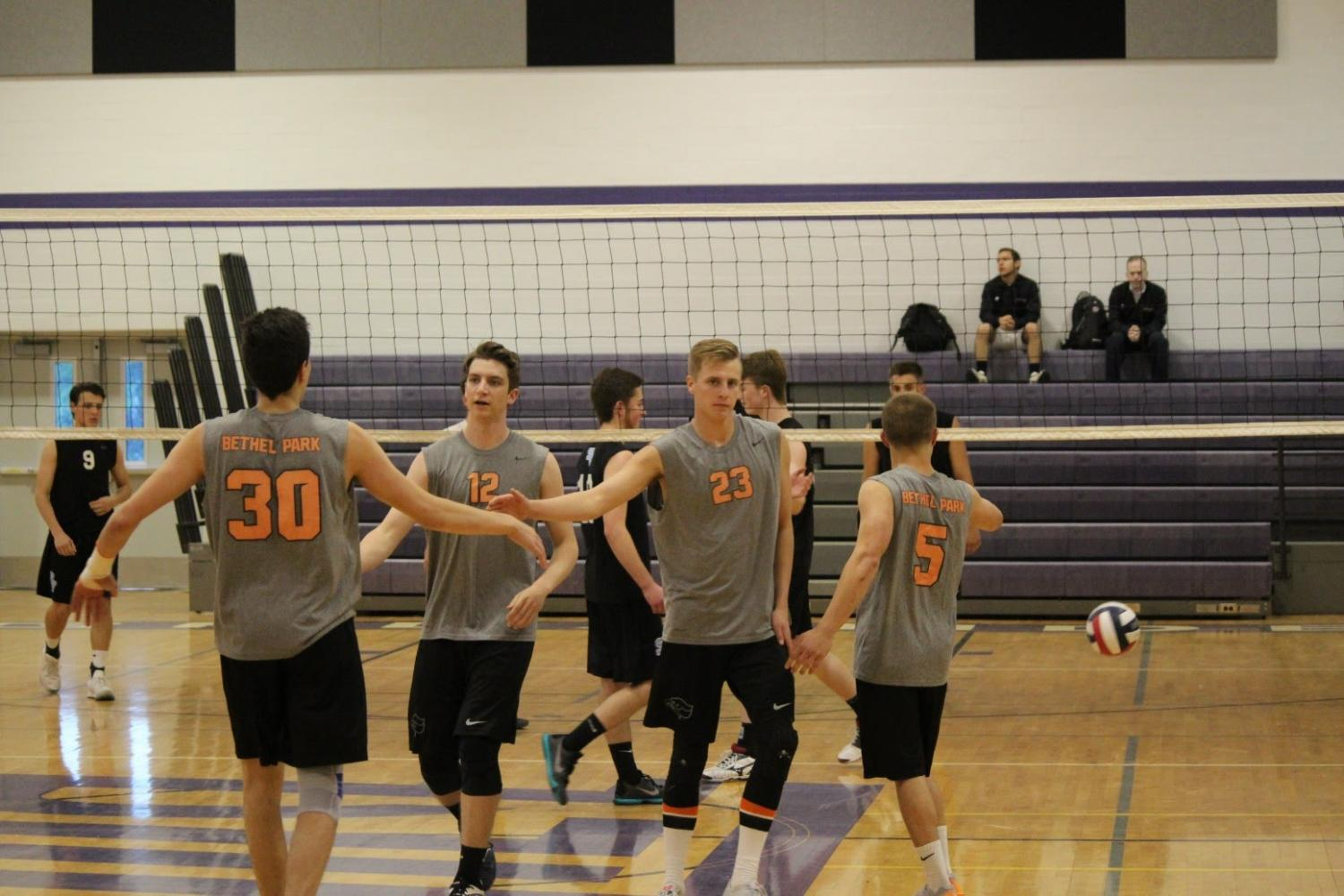 Boys+celebrate+scoring+a+point+during+their+3rd+place+match+against+Seneca+Valley+on+May+24