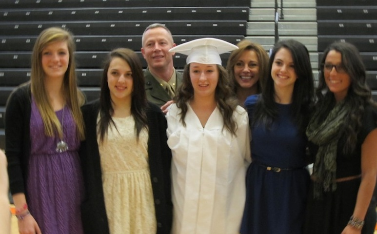 Mock graduation for daughter of a Marine