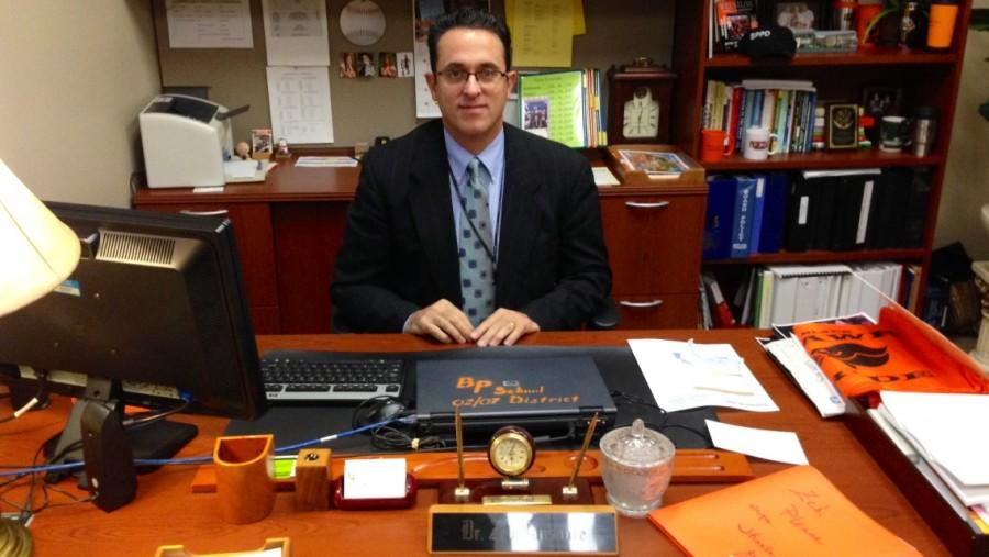 Dr. Jansante at his desk. Dr. Jansante recently won the PA Principal of the Year award.