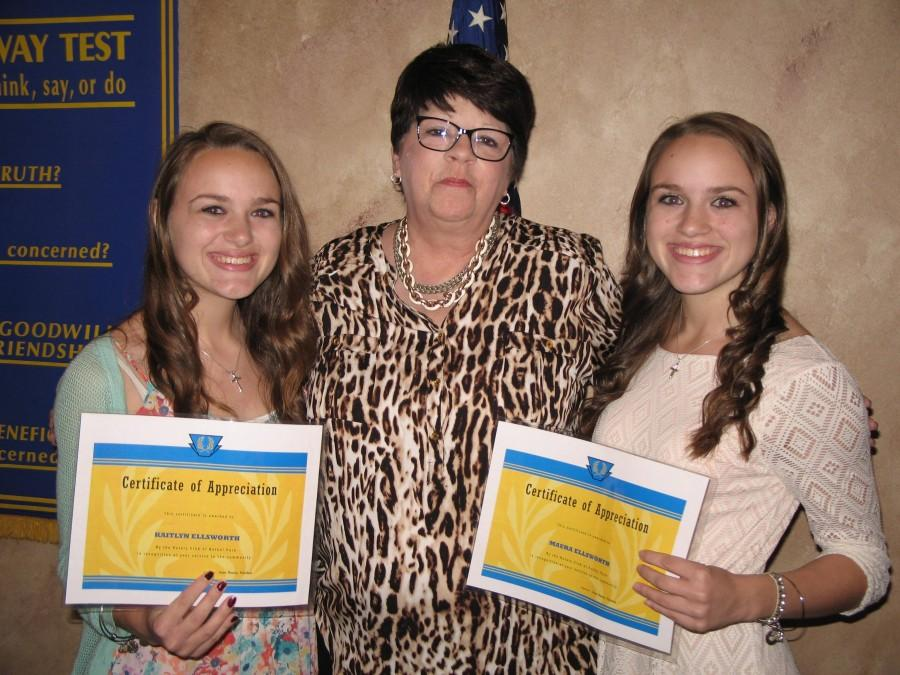 Kaitlyn and Maura Ellsworth, October Rotary Students of the Month, proudly display their awards.
