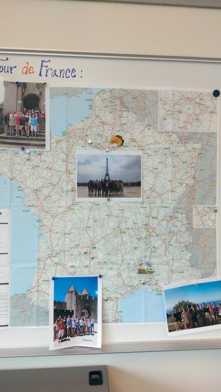 Map that follows the places French students will go on French trip.