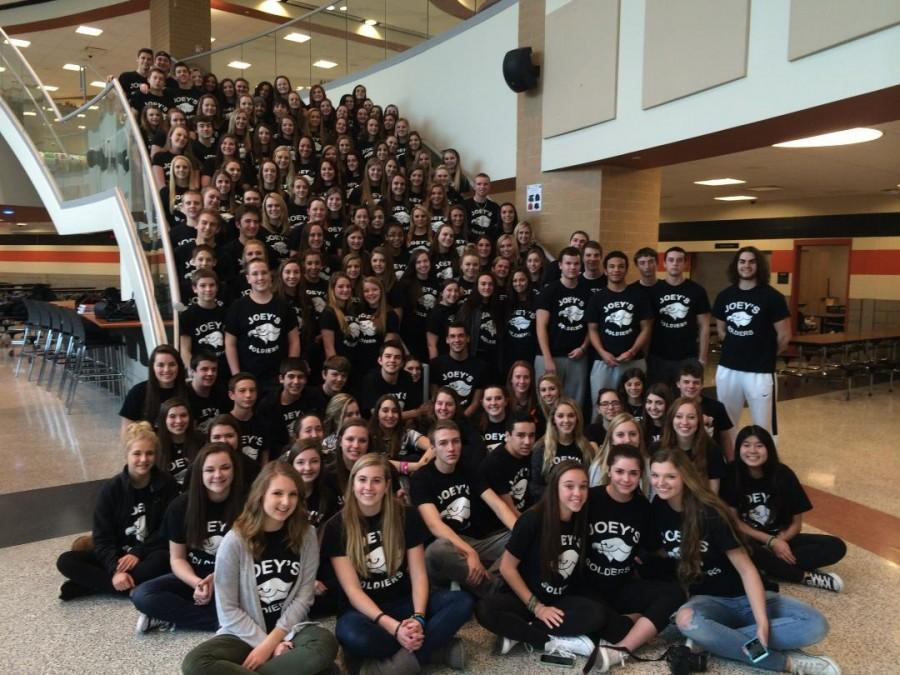 """BPHS students wearing """"Joey's Soldiers"""" shirts show their support of Joey Fabus."""