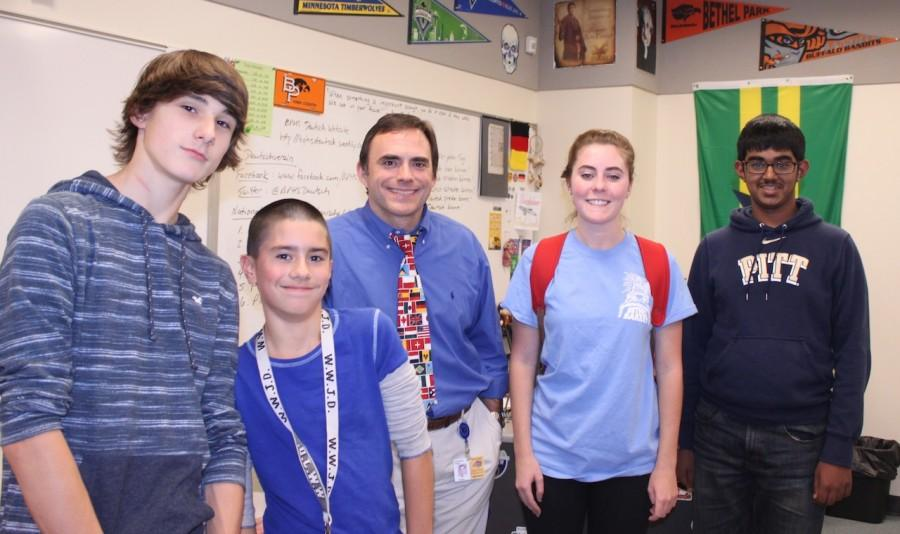 Mr. Tobias and his German students pose for a pic on Blue T-shirt Day.