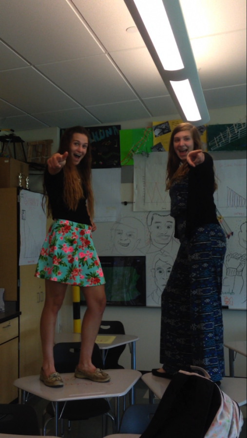 Kelsey Tischler (left) and Francesca Galietta (right) strike a pose.