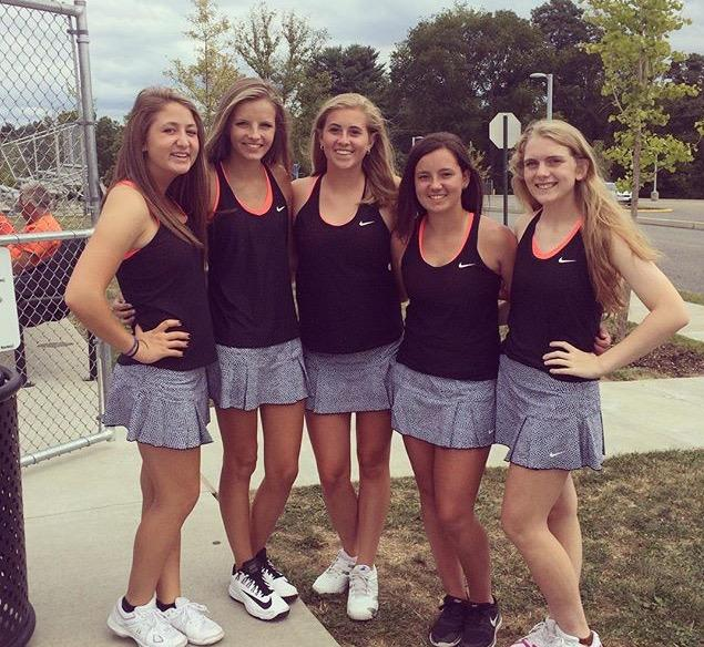 Members of the girls' tennis team. From left to right: Emily Wagner (junior), Jessica Fanning (junior), Kayla Veith (junior), Emily Kramer (junior), and Cameron Happe (junior).
