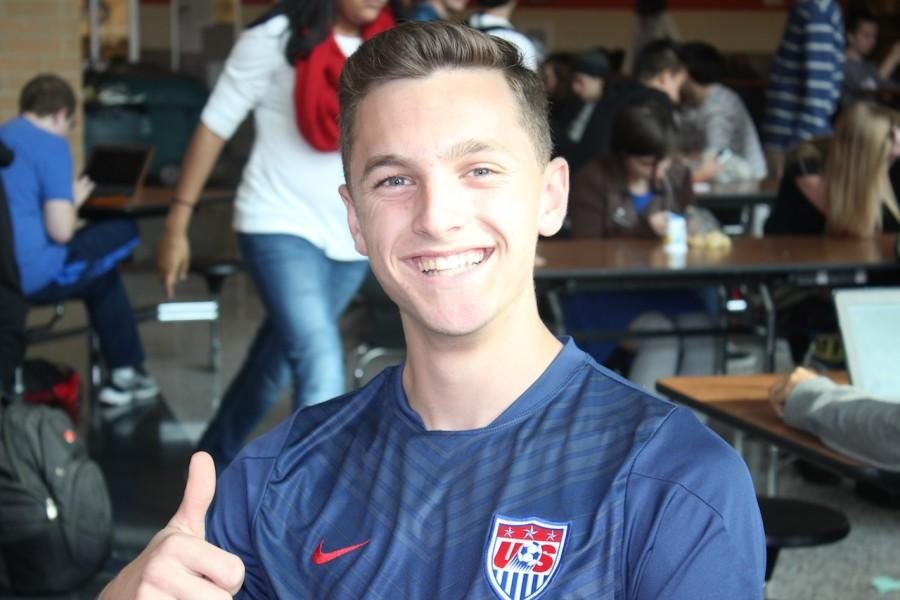 Student of the Week Logan Runco gives a thumbs up as he smiles for the camera.