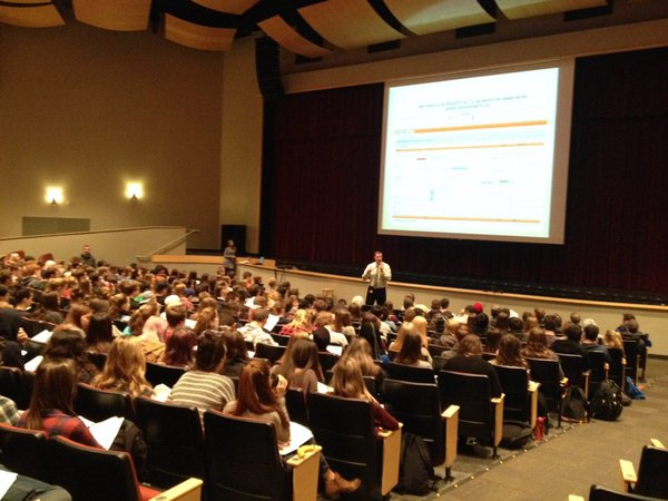 Mr. Bruce talks to juniors about Sungard and the new scheduling process.