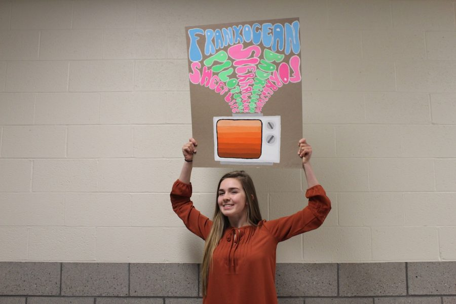 Zoe Zilcosky poses with her '70s throwback poster of Frank Ocean's 'Channel Orange.'