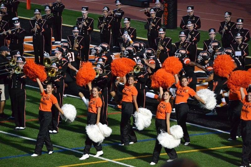 Kayla Dell (orange shirt in front) and the Bethettes during a halftime show.