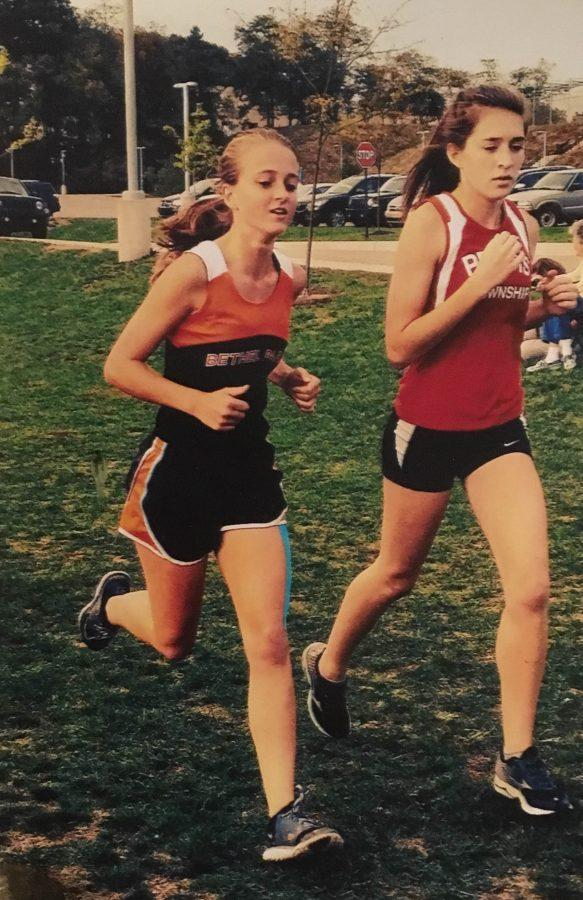 Bridget Heh runs in a cross country race against Peters Township.