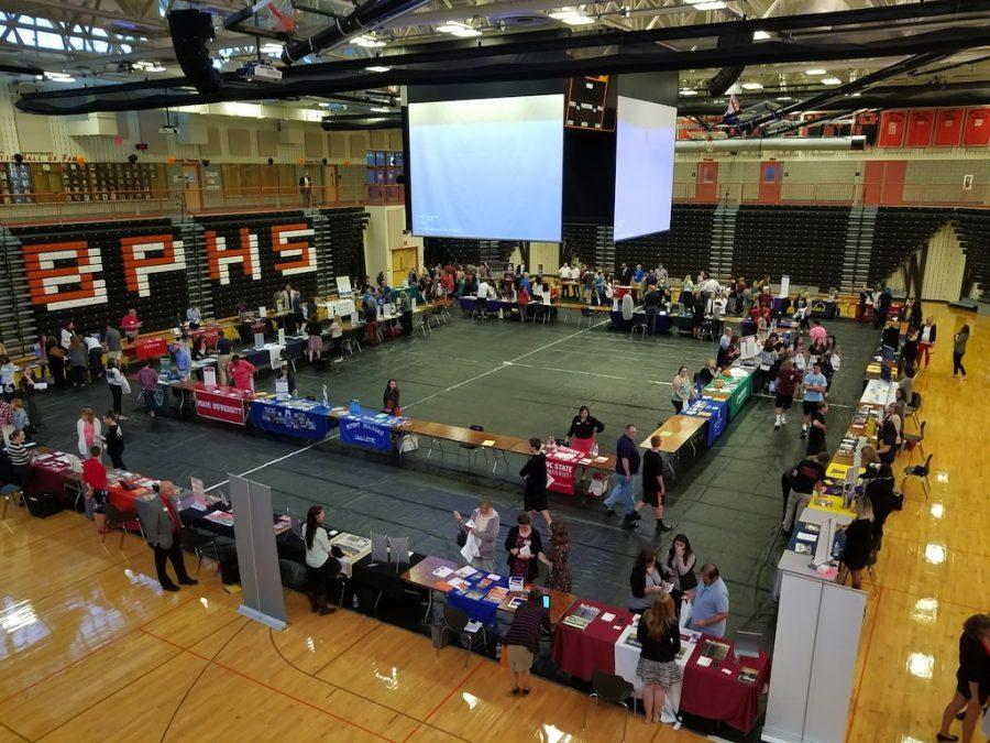 Over 60 colleges were stationed in the gymnasium.