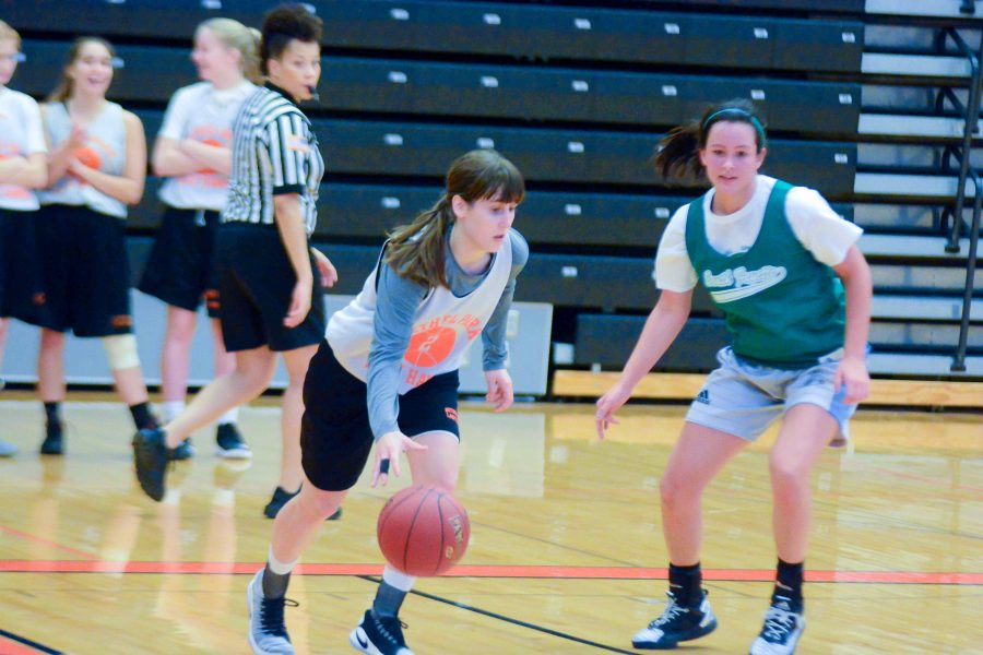 Kam Lach dribbles around a player from South Fayette in a game on Dec. 3, 2016.