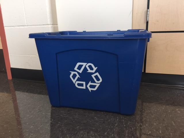 An empty recycling bin in Mrs. Edmonds' room at BPHS.