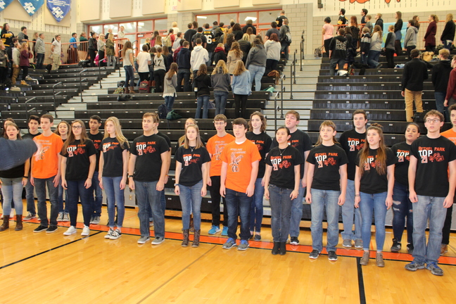 Top 21 sings the National Anthem at the Fall Spirit Assembly earlier this year.