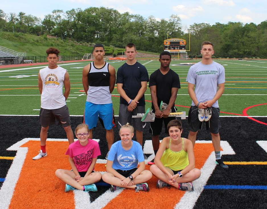 From left to right: Jehvonn Lewis, Zach Taylor, James Krandel, Terron Murphy, Kenny Barnhart, Lilly Zeminski, Hannah Crawford, and Sydney Burns are just some of the track & field athletes who qualified for WPIALs.