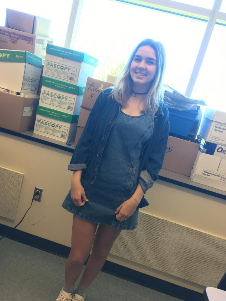 Senior Zoe Zilcosky is dressed in double denim. Prom Spirit Week kicks off with Double Denim Day.