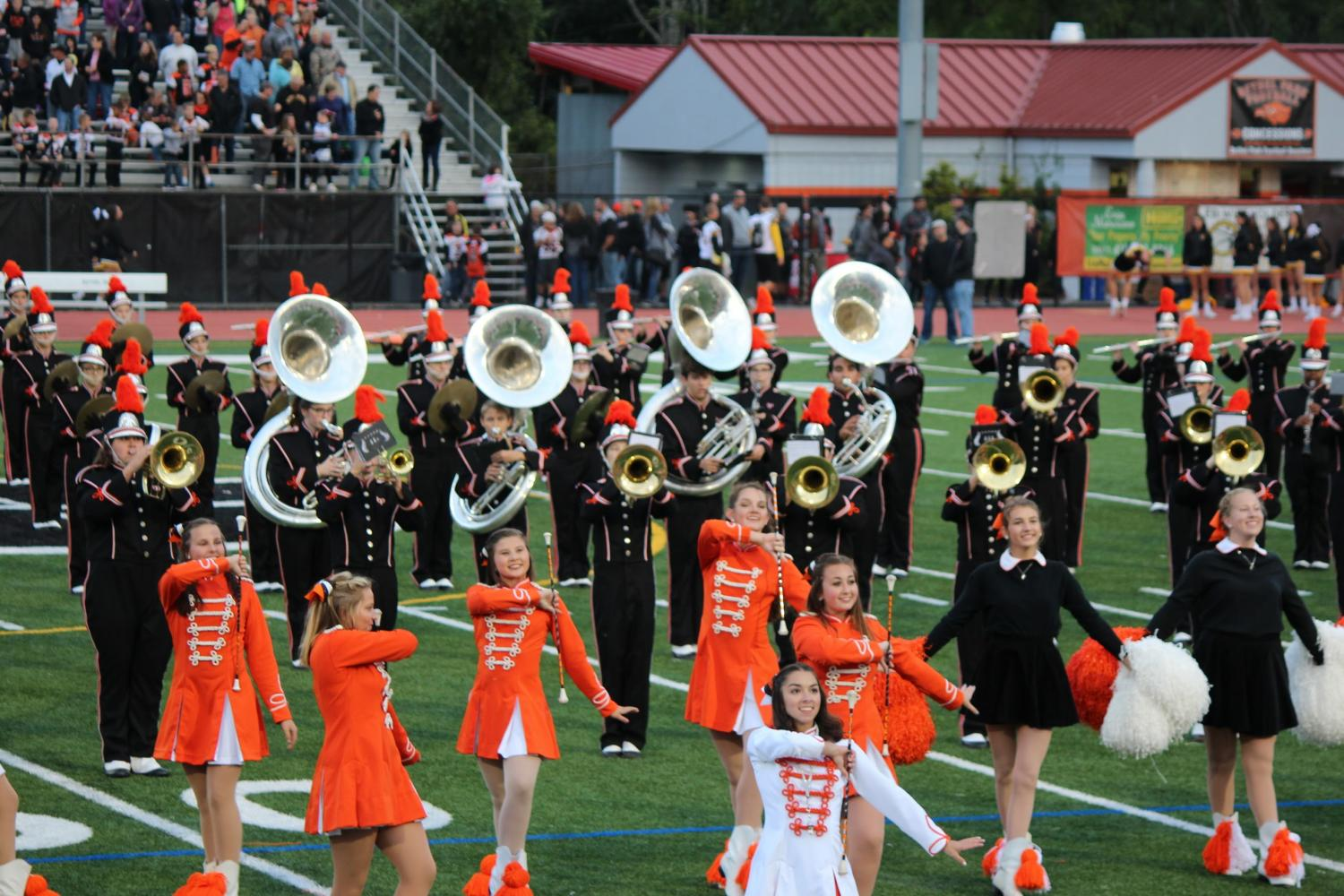 The Marching Band performs during the halftime show of the football game vs. NA on Sept. 1.