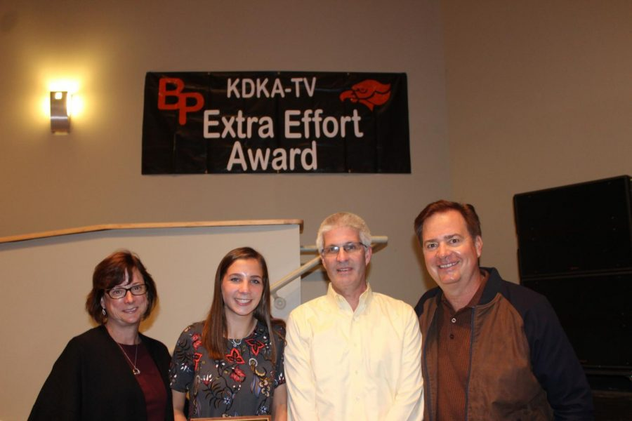 Anna McLinden stands with her parents and Bob Pompeani after being presented with her KDKA-TV Extra Effort Award on Tuesday, Oct. 24.