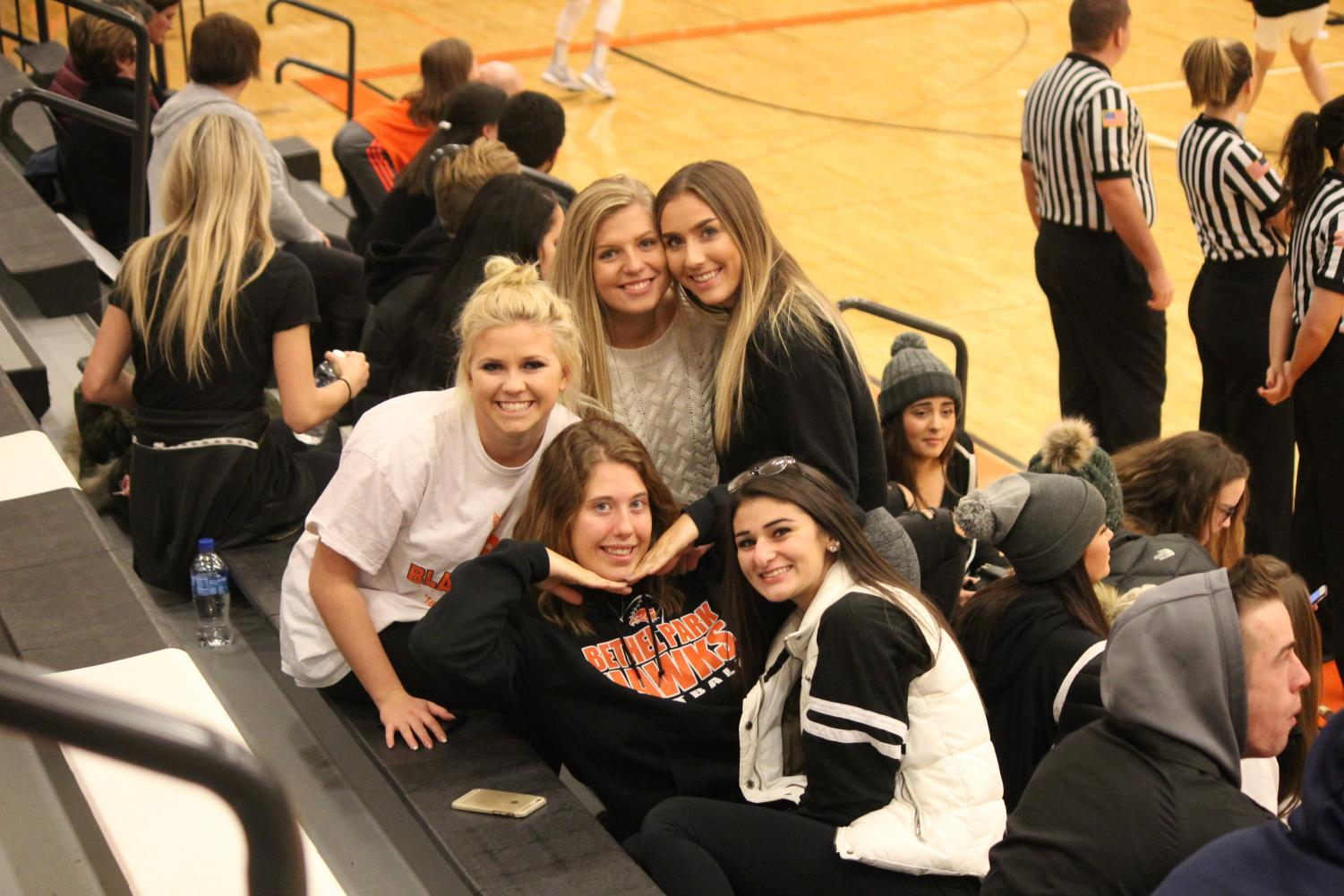 A group of Bethel Park fans pose for a pic during the girls game against Hempfield in round 1 of the Tip-Off Tournament on Friday, Dec. 8.