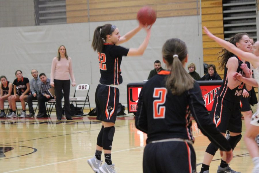 Olivia Westphal takes a three-point shot during the Lady Hawks game against USC on Thursday, Jan. 4. BP won the game 45-26.