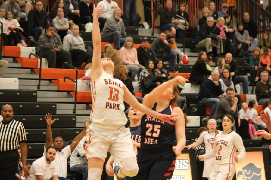 Maddie Dziezgowski leaps  to complete a layup in the Lady Hawks' game against Shaler on Feb. 9.