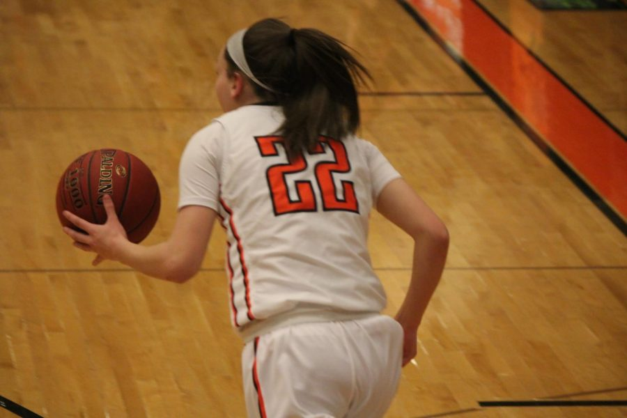 Maddie Dziezgowski dribbles up the court during the Lady Hawks' game against the Lady Panthers on Jan. 25.
