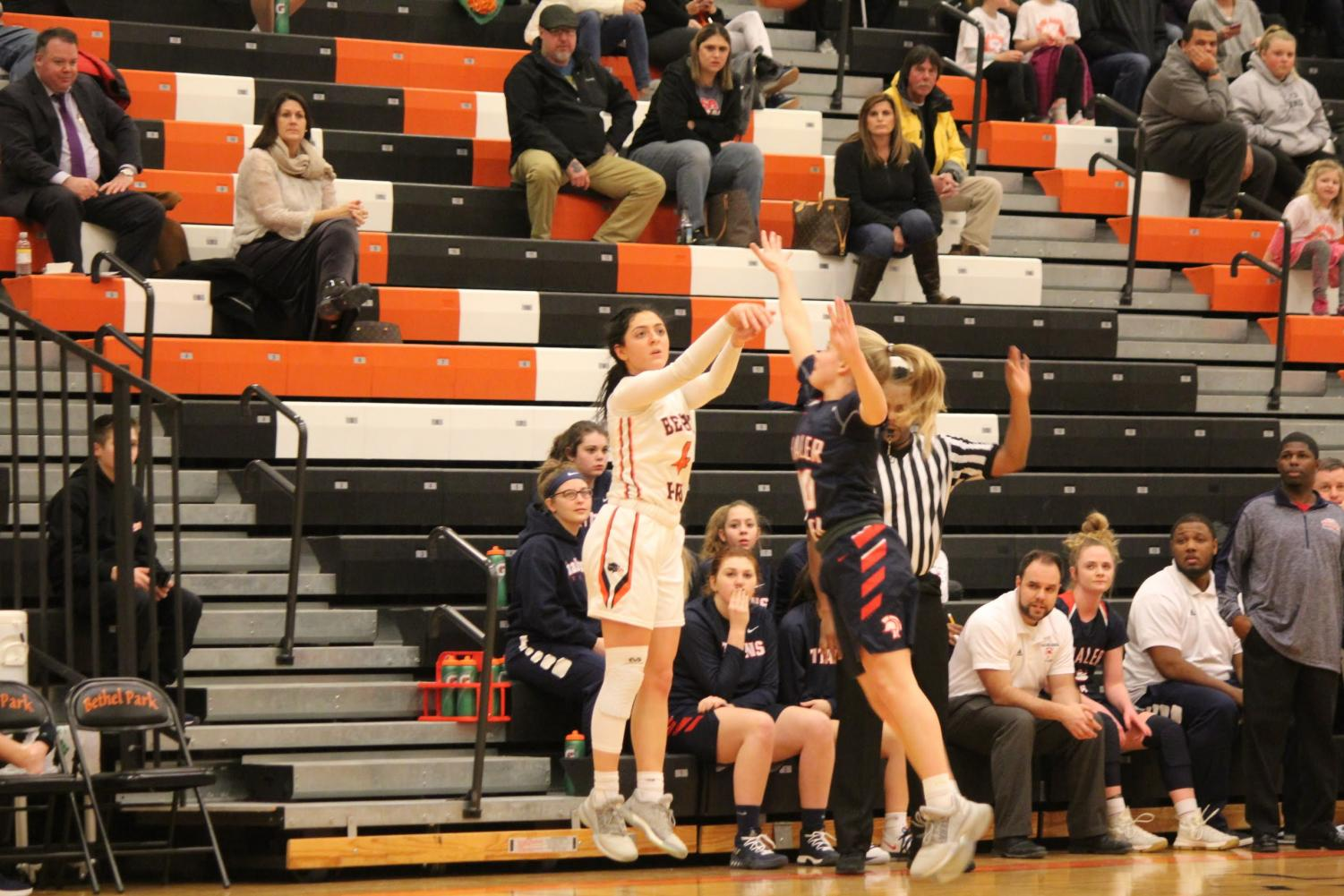 Maria Cerro jumps up for a shot during the Lady Hawks' game vs. Shaler on Feb. 9