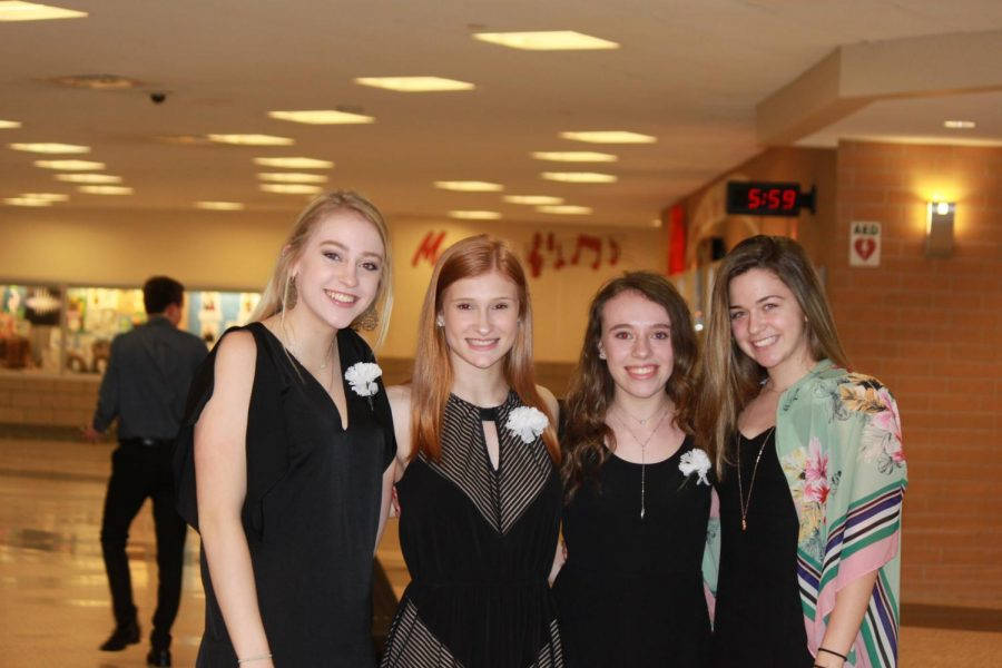 Cami+Morgan%2C+Juliana+Carbone%2C+Mallory+Locke%2C+and+Lauren+Mullen+are+all+smiles+at+the+NHS+induction.