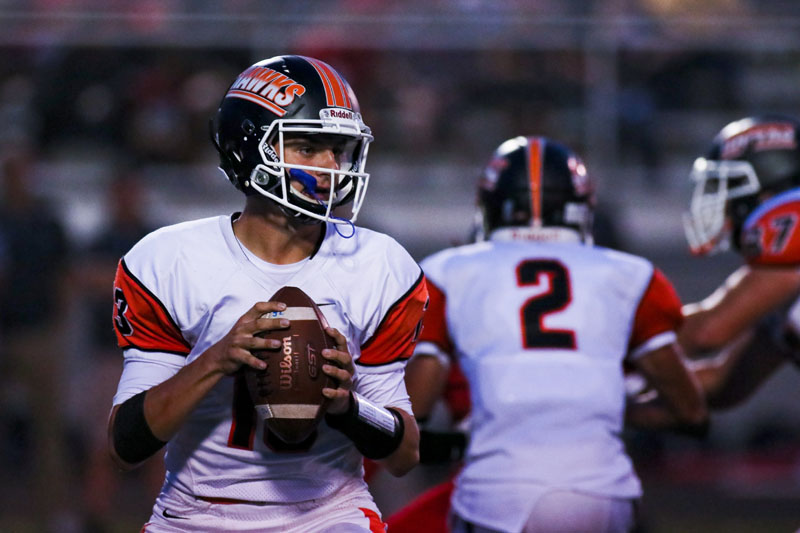 POISED+IN+THE+POCKET%2C+quarterback+Anthony+Chiccitt+eyes+up+a+pass+during+the+Hawks+game+vs.+West+Allegheny+Sept.+7