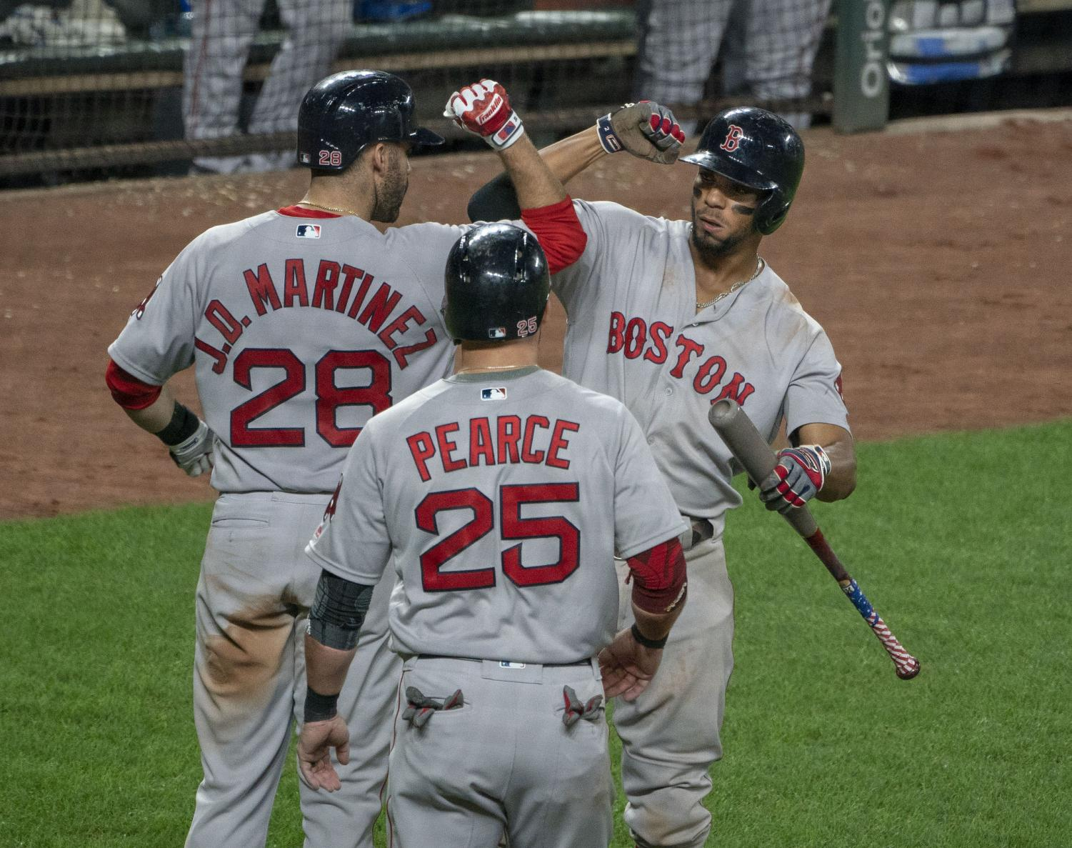 The Boston Red Sox celebrate a run during their game against the Baltimore Orioles on Aug. 11, 2018.