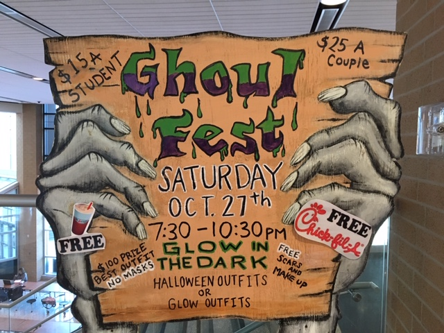 GRIPPINGLY, a sign in the main lobby highlights everything Ghoul Fest.