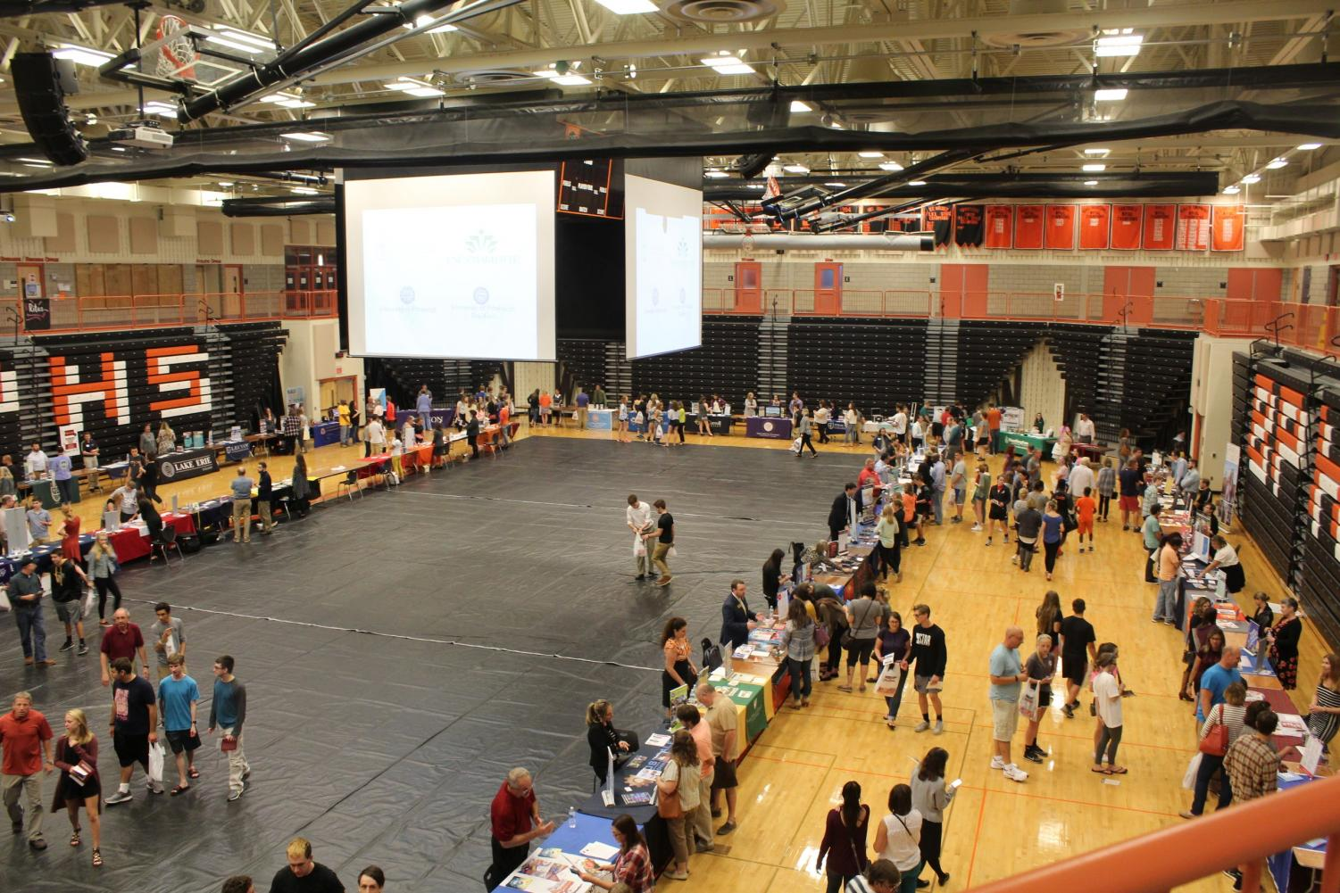BUZZING WITH INFORMATION, 132 colleges pitched themselves to 1500 students at the 2017 College Fair.