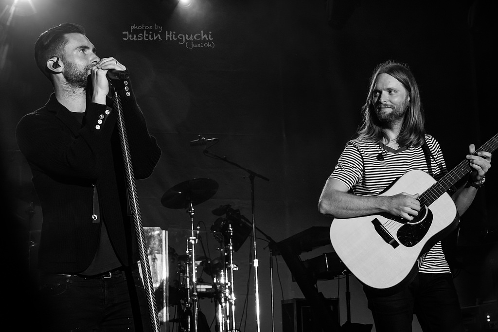 STAR SINGER, Adam Levine and lead guitarist, James Valentine performing on stage