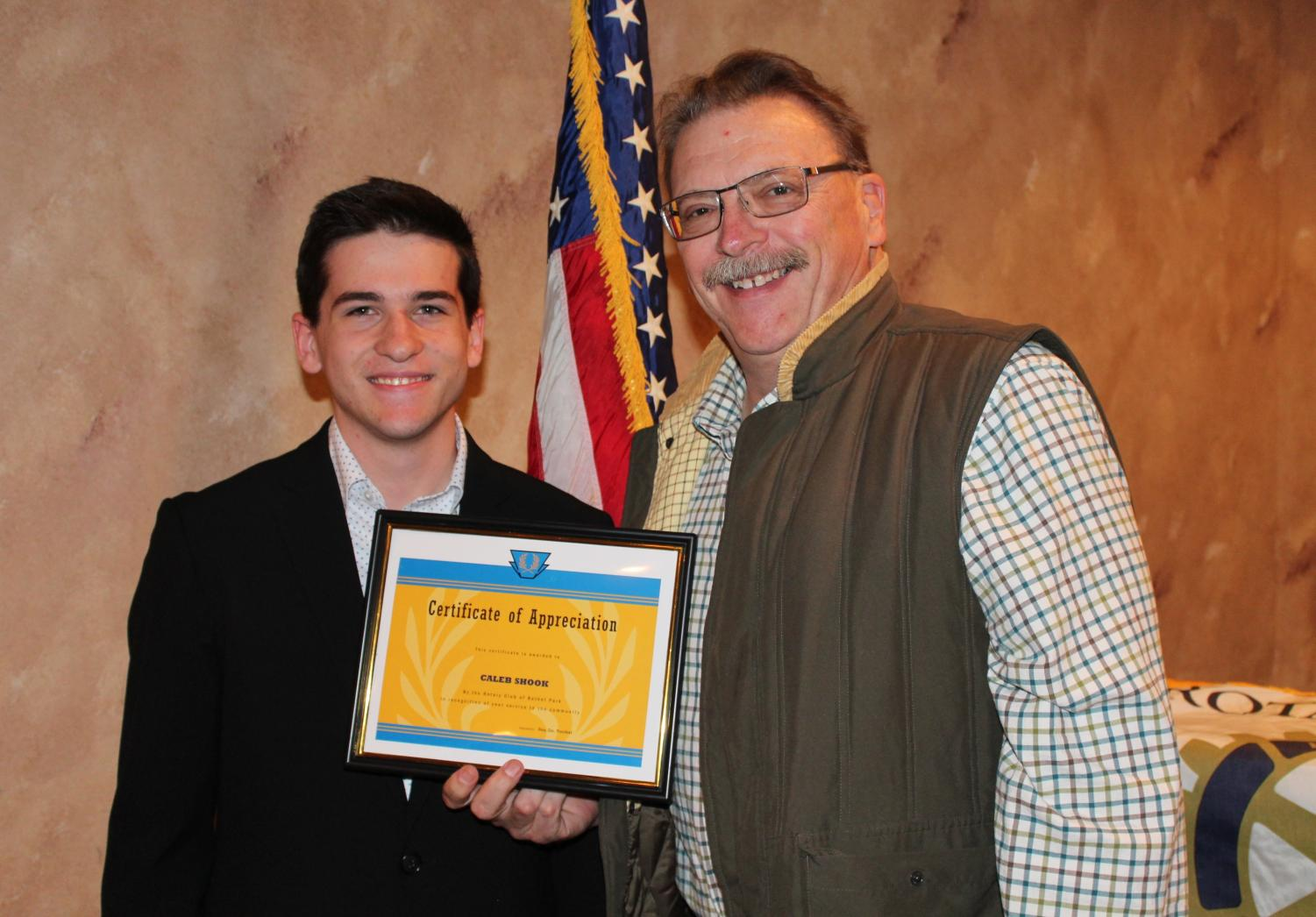 Junior Caleb Shook receives his October Rotary Student of the Month award.