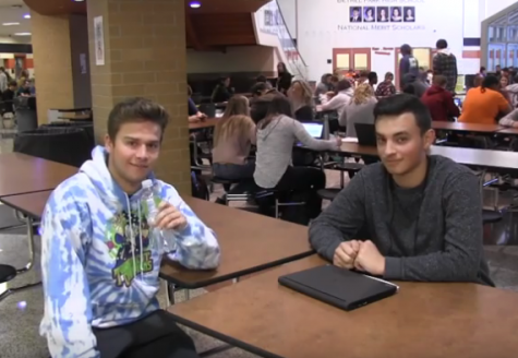 Parker Loera asks senior Thomas Lejeck if he knows what the verb form of squirrel means.