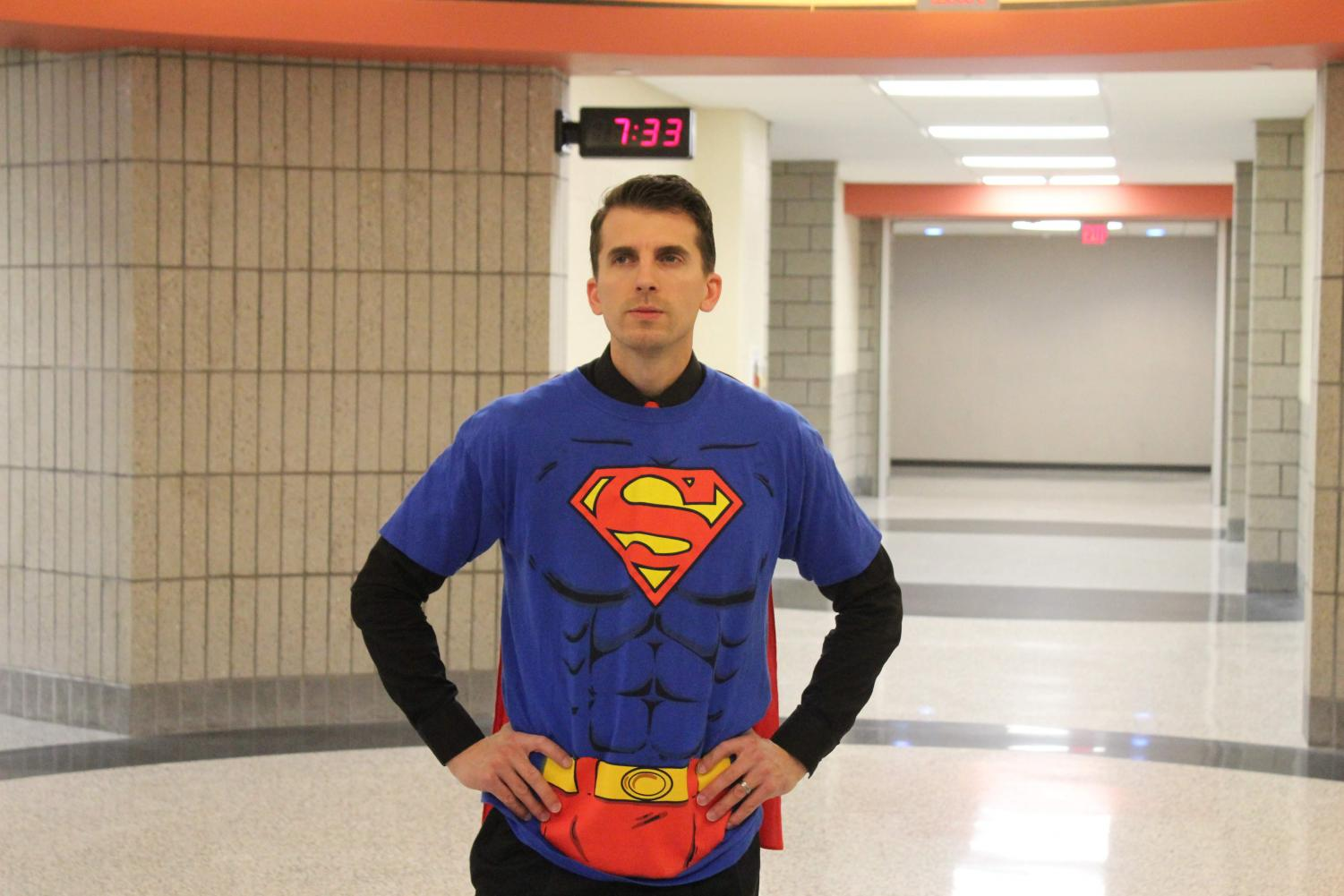 HERE TO SAVE THE DAY! Mr. Allemang dons his Superman costume on Halloween.