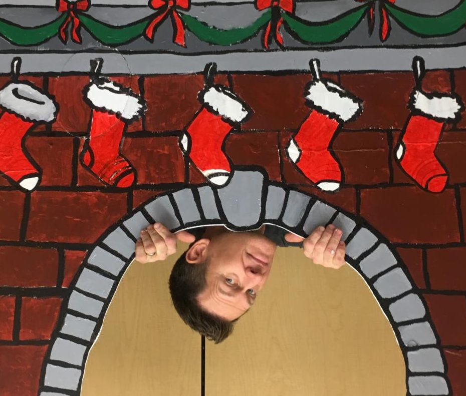 Mr. Wallisch coming DOWN the chimney! #Bpdownthechimney
