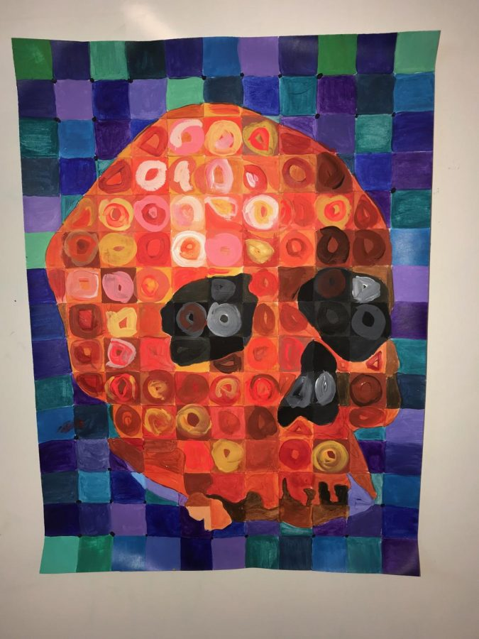 Steff Beckman's COLORFUL skull is showcased in Mr.Wallisch's Art room!