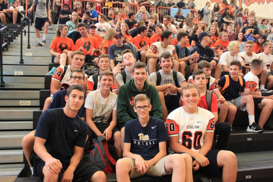 Freshmen are pumped for the September (Homecoming) Spirit Assembly.