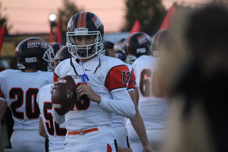 Junior quarterback Anthony Chiccitt readies for his game against Baldwin on Sept. 28, 2018.