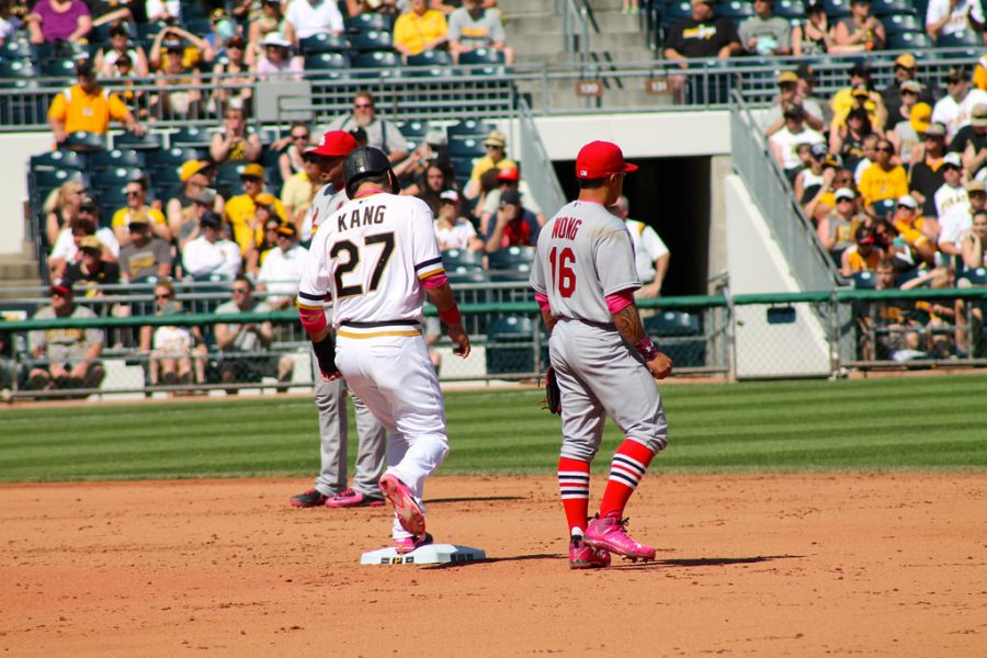 Jung Ho Kang stands on second base during one of the Pirates home games.