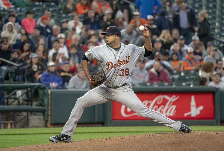 Francisco Liriano pitching for the Detroit Tigers in an away game.