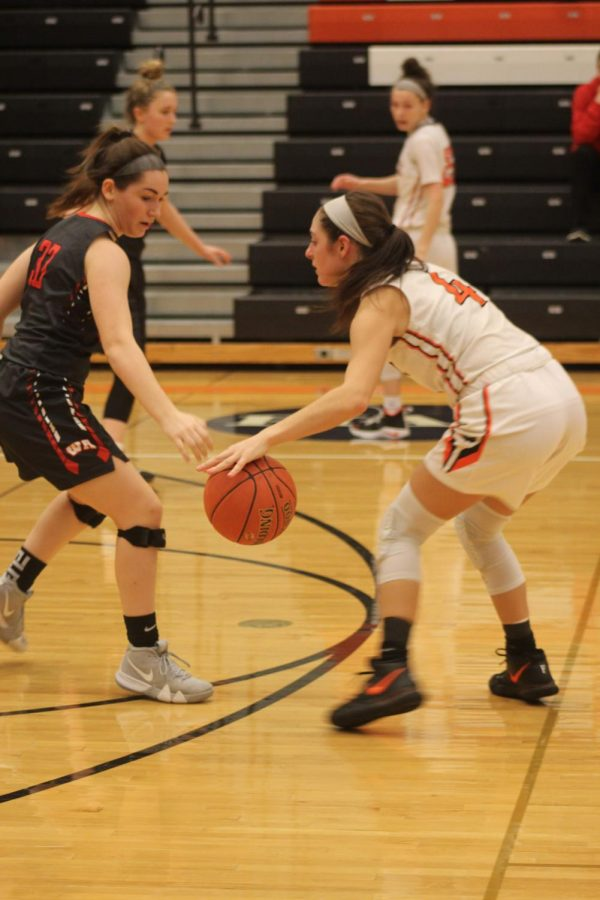 Senior guard Maria Cerro goes toe-to-toe with West A on Jan. 26.