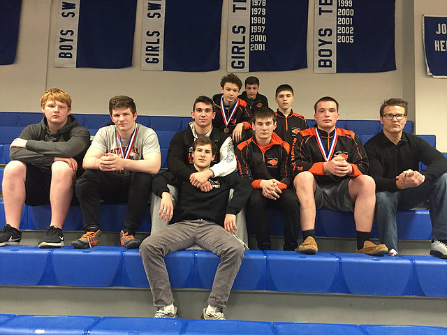 Wrestlers pose for a pic at the Section Individual Championships on Saturday, Feb. 23.