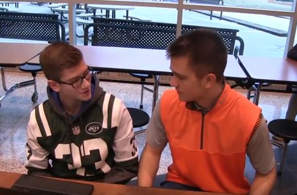 Ryan+Meis+asks+freshman+Nick+Carbone+if+Tom+Brady+is+the+G.O.A.T.