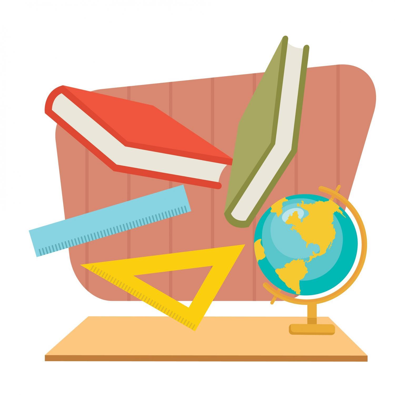 Academic classes, symbolized via books, rulers, and a globe.