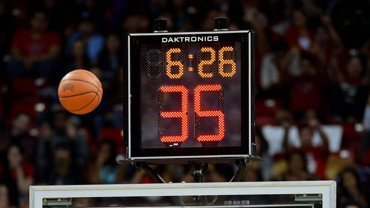 A shot clock in use during a college basketball game.