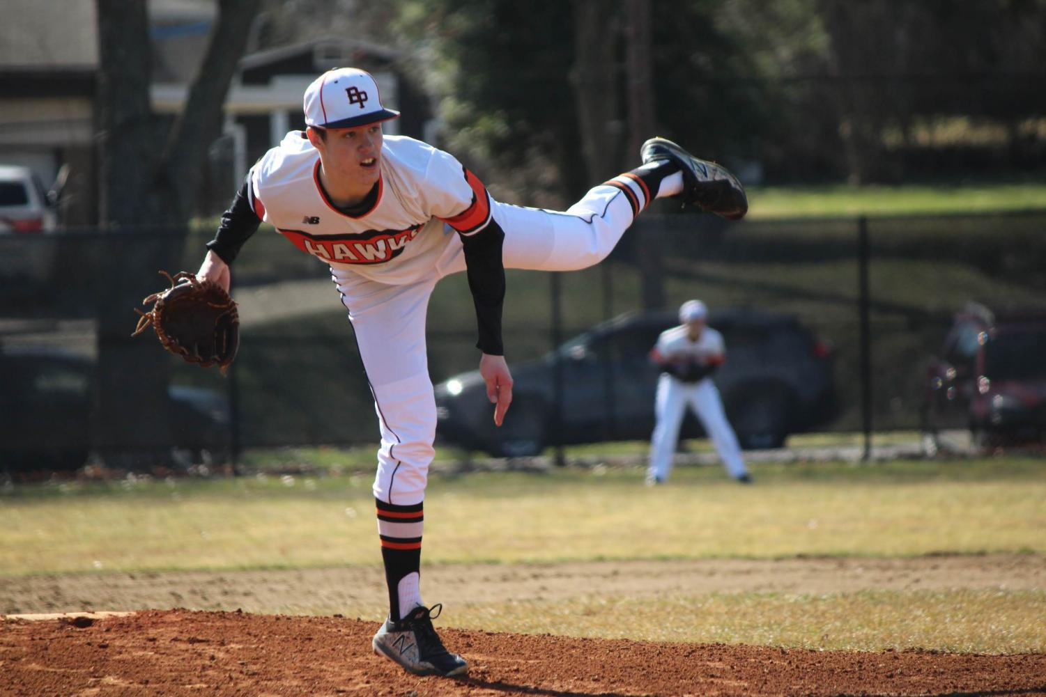 Sophomore pitcher Eric Chalus, Jr. pitches the entire game against the Rams on Wednesday, March 27.