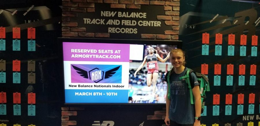 Emily Carter poses for a pic at the National Indoor Track and Field Championships in March.