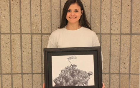 "Student Art of the Week: Ariana Guerra's stippling of ""Flag Raising on Iwo Jima"""
